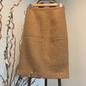 Boden Notre Dame Tan Tweed Pencil Skirt Size 2R